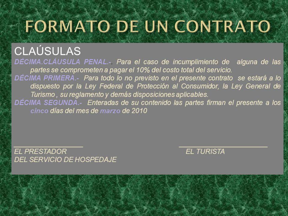 FORMATO DE UN CONTRATO CLAÚSULAS