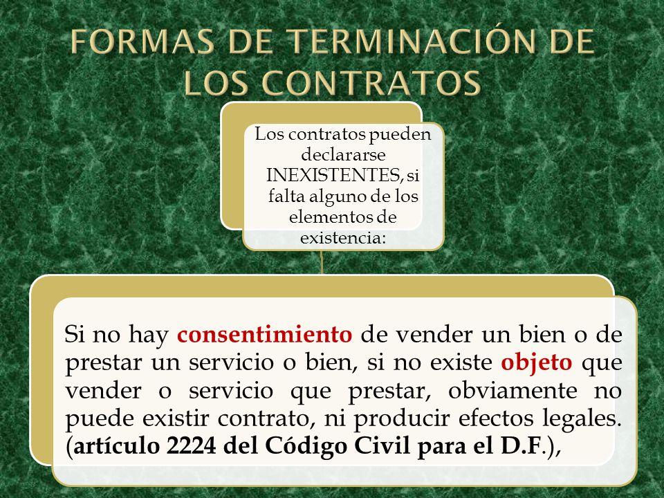 FORMAS DE TERMINACIÓN DE LOS CONTRATOS