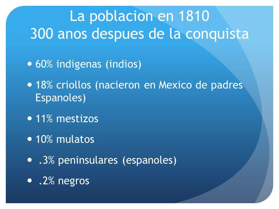 La poblacion en 1810 300 anos despues de la conquista