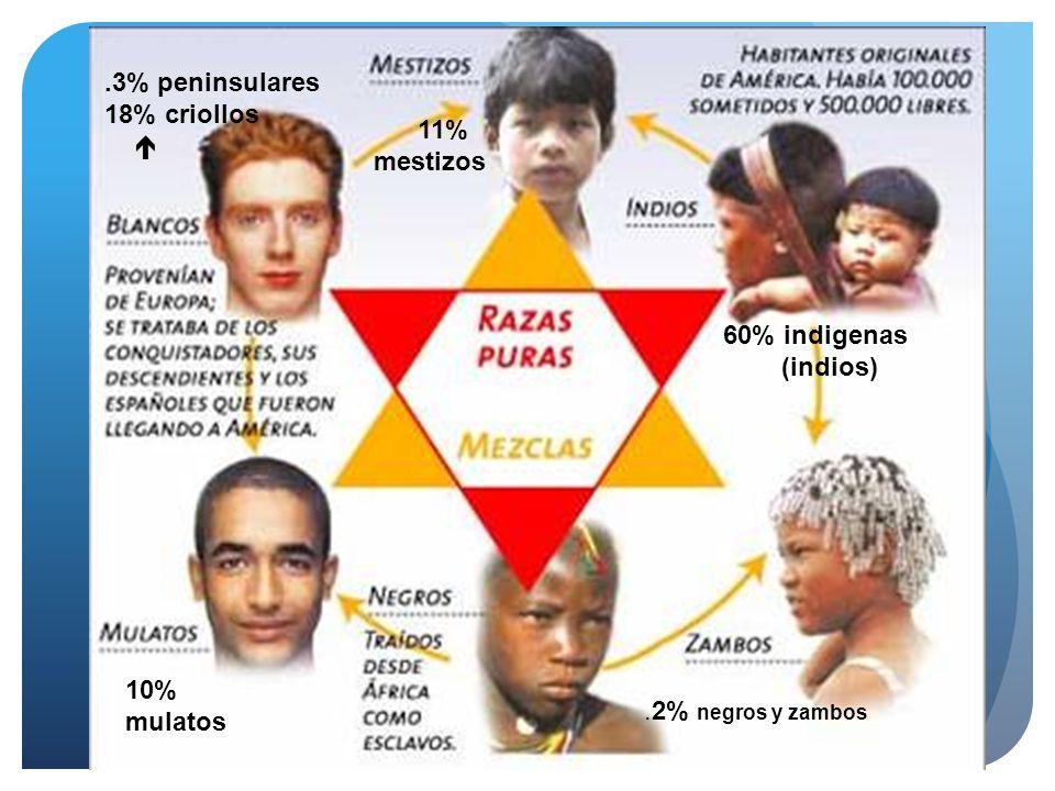 .3% peninsulares 18% criollos  11% mestizos 60% indigenas (indios) 10% mulatos .2% negros y zambos