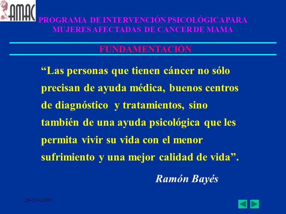 PROGRAMA DE INTERVENCIÓN PSICOLÓGICA PARA MUJERES AFECTADAS DE CANCER DE MAMA