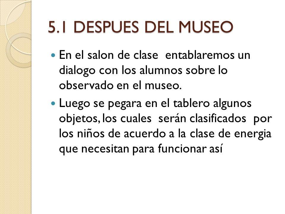 5.1 DESPUES DEL MUSEO En el salon de clase entablaremos un dialogo con los alumnos sobre lo observado en el museo.