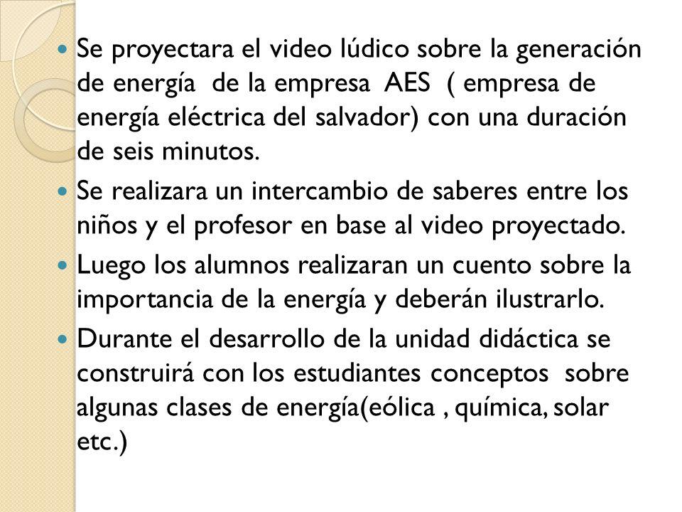 Se proyectara el video lúdico sobre la generación de energía de la empresa AES ( empresa de energía eléctrica del salvador) con una duración de seis minutos.