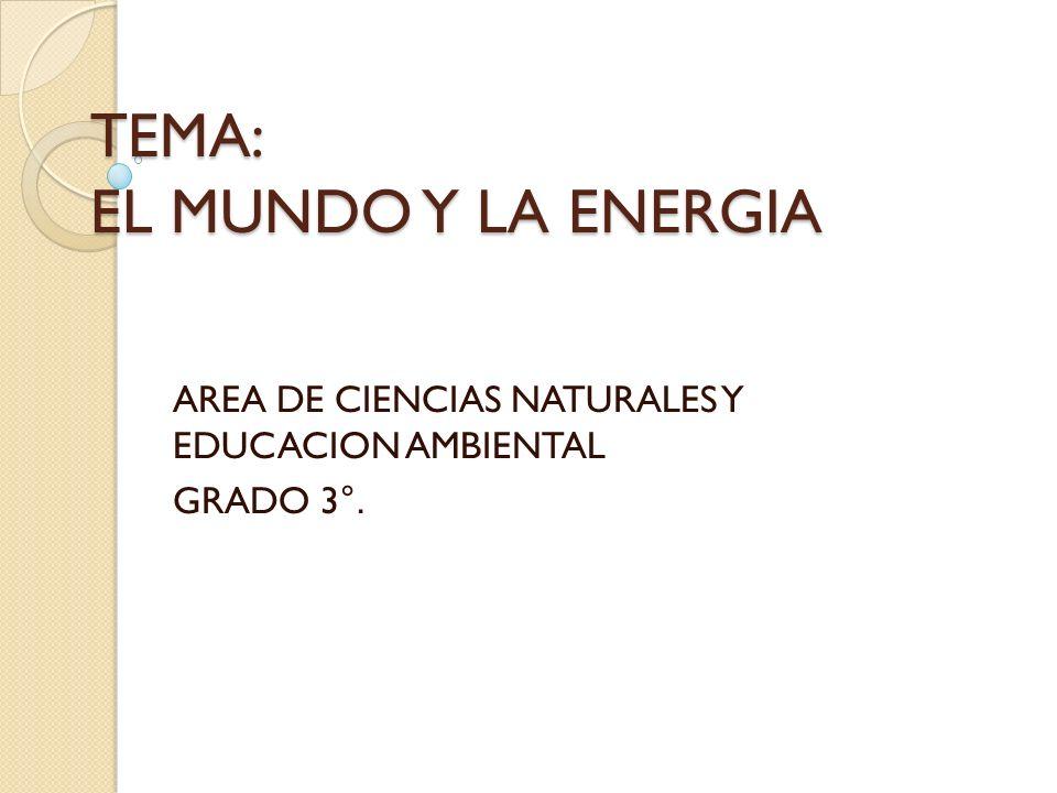 TEMA: EL MUNDO Y LA ENERGIA