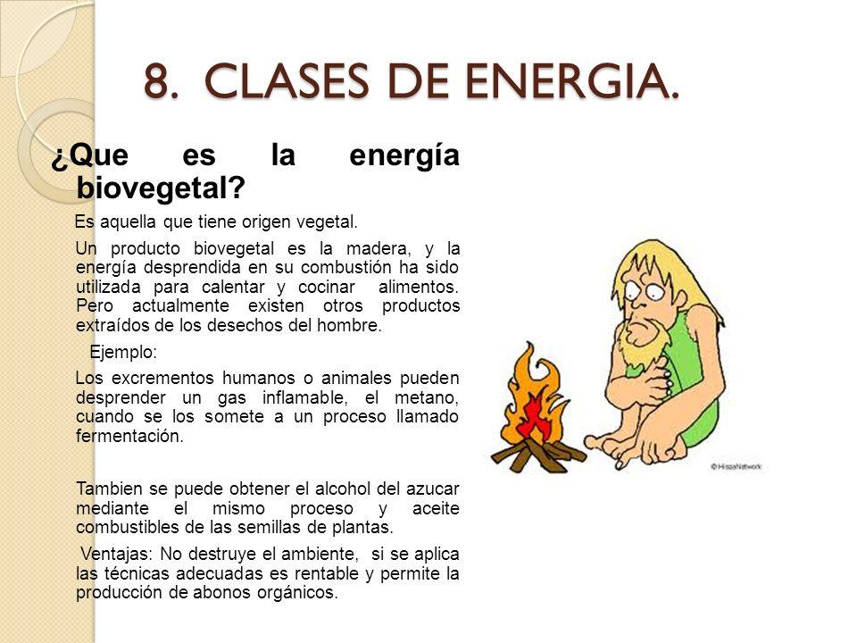 8. CLASES DE ENERGIA. ¿Que es la energía biovegetal