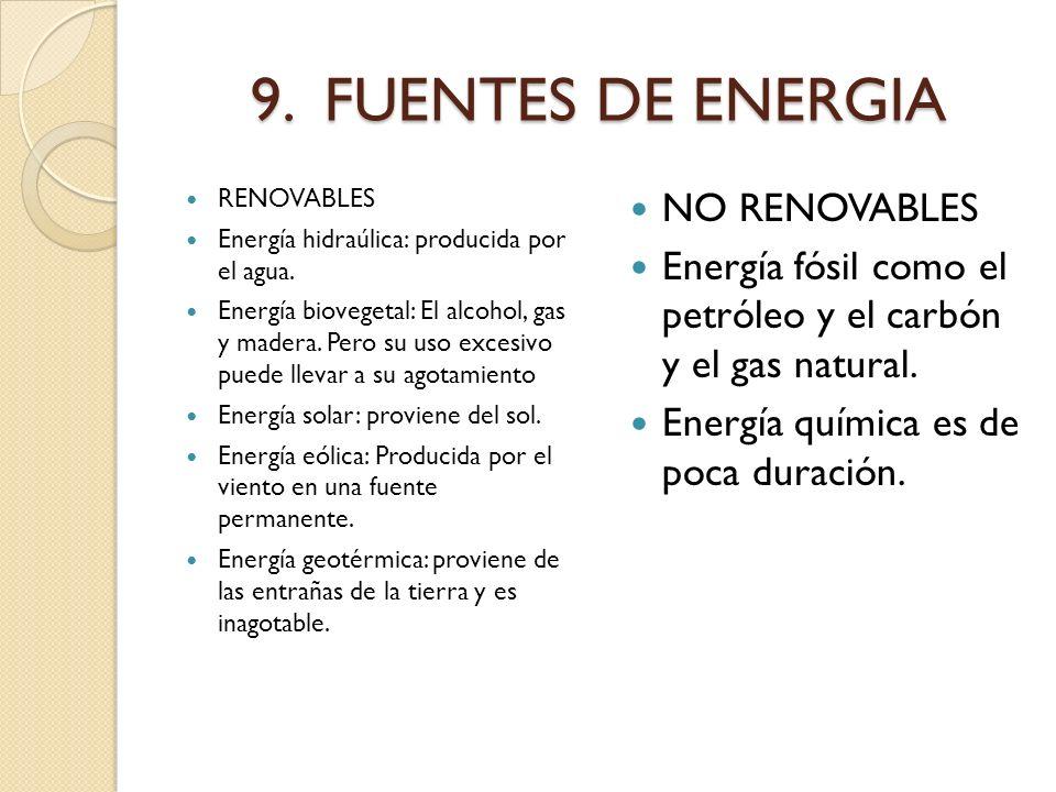 9. FUENTES DE ENERGIA NO RENOVABLES