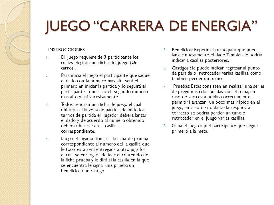 JUEGO CARRERA DE ENERGIA