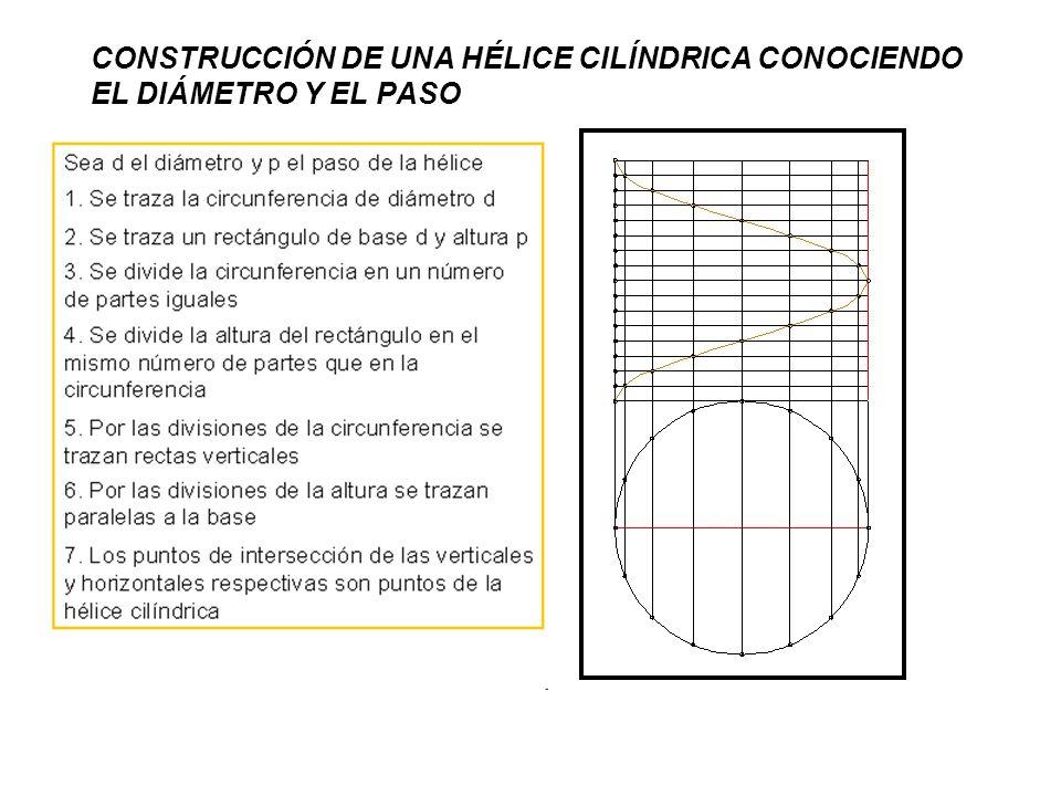 CONSTRUCCIÓN DE UNA HÉLICE CILÍNDRICA CONOCIENDO EL DIÁMETRO Y EL PASO