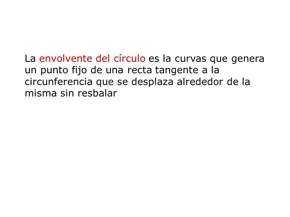La envolvente del círculo es la curvas que genera un punto fijo de una recta tangente a la circunferencia que se desplaza alrededor de la misma sin resbalar