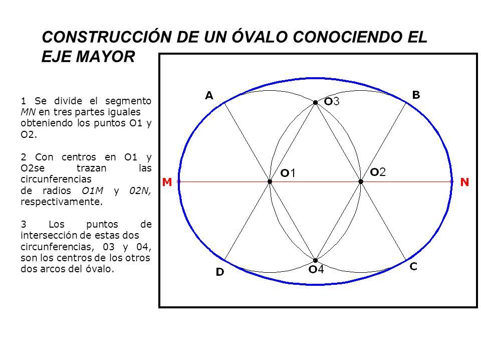 CONSTRUCCIÓN DE UN ÓVALO CONOCIENDO EL EJE MAYOR