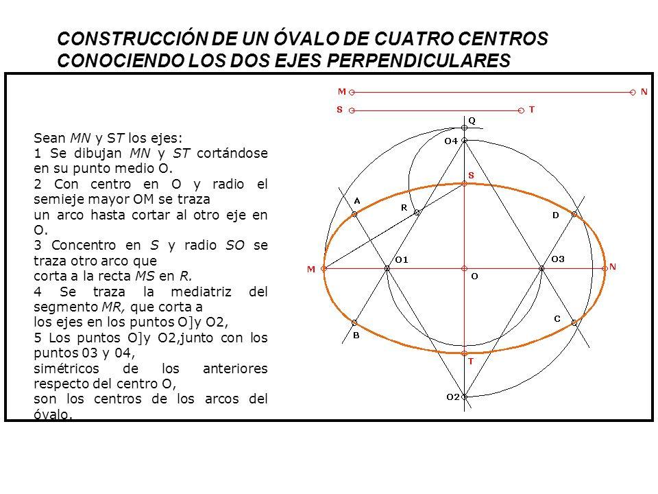 CONSTRUCCIÓN DE UN ÓVALO DE CUATRO CENTROS CONOCIENDO LOS DOS EJES PERPENDICULARES