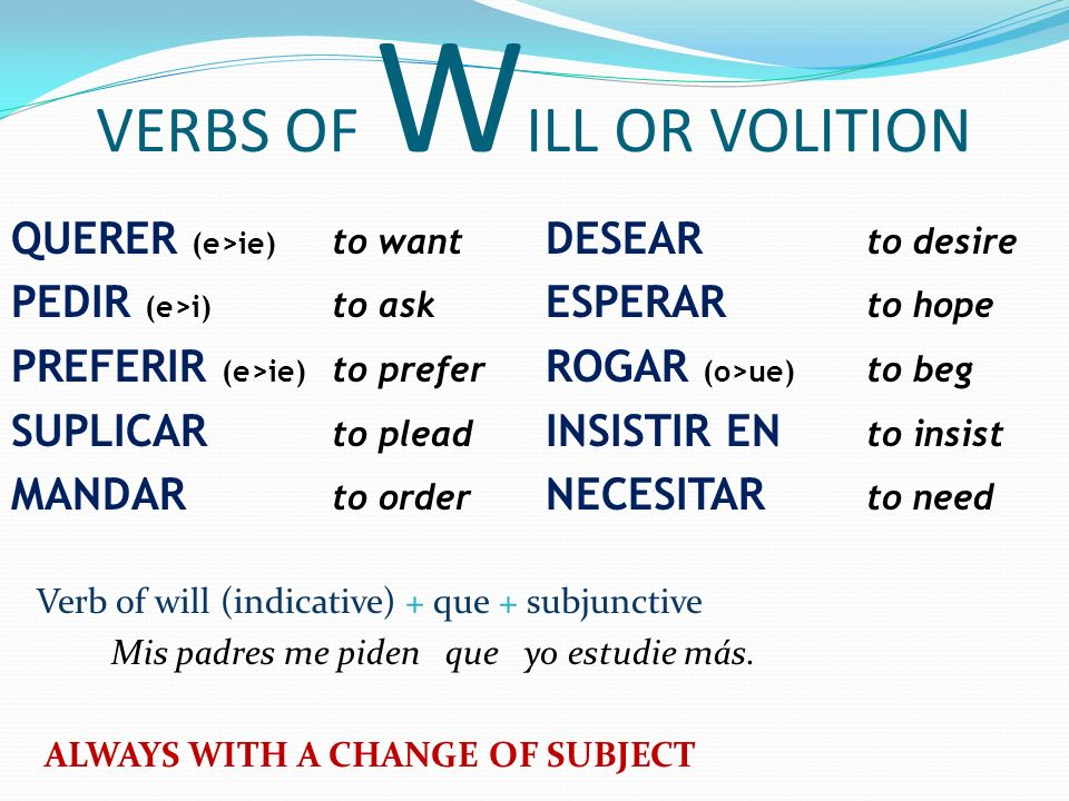VERBS OF WILL OR VOLITION
