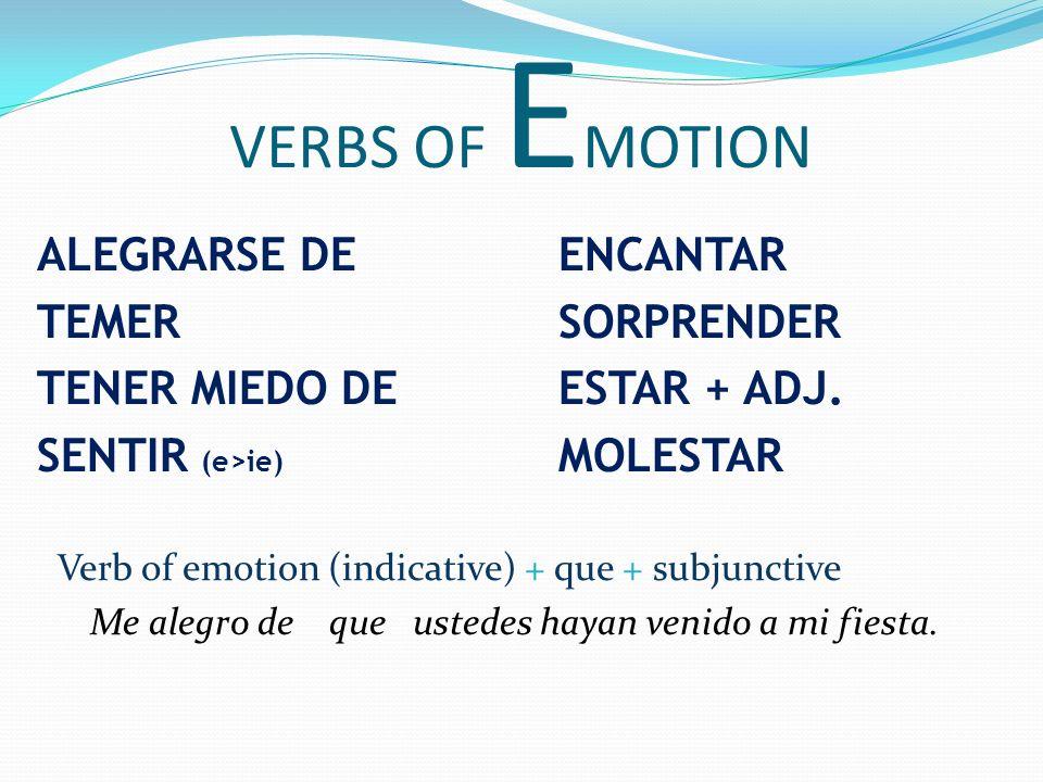 VERBS OF EMOTION ALEGRARSE DE ENCANTAR TEMER SORPRENDER