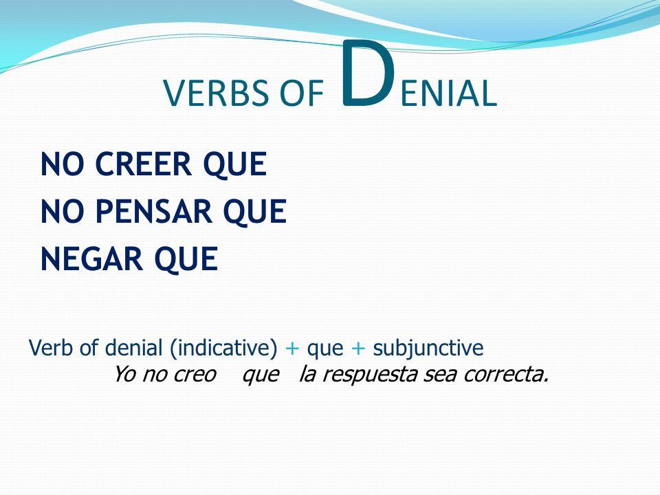 VERBS OF DENIAL NO CREER QUE NO PENSAR QUE NEGAR QUE