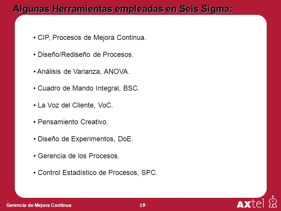 Algunas Herramientas empleadas en Seis Sigma: