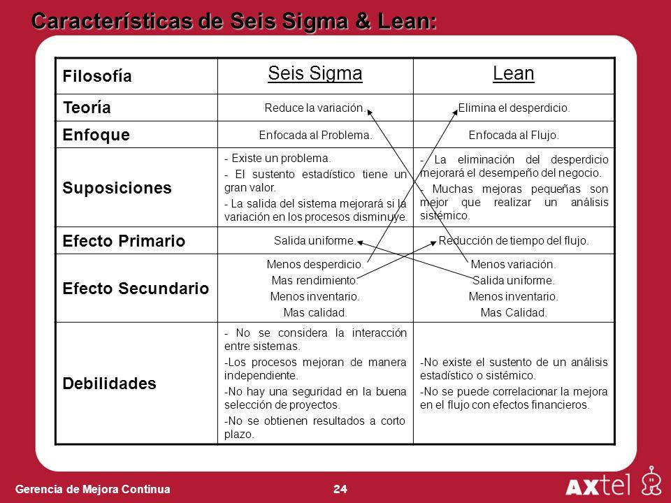 Características de Seis Sigma & Lean: