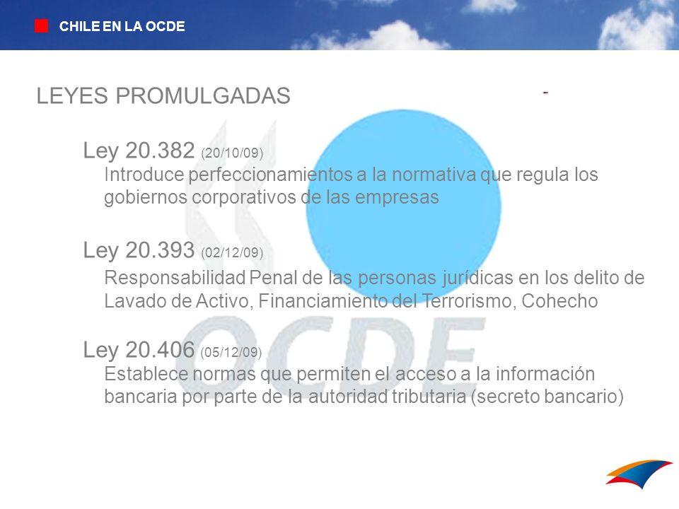 LEYES PROMULGADAS Ley 20.382 (20/10/09) Ley 20.393 (02/12/09)