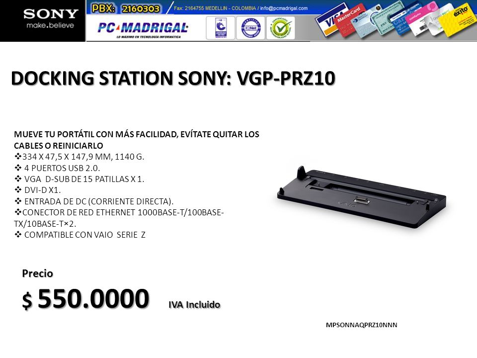 DOCKING STATION SONY: VGP-PRZ10
