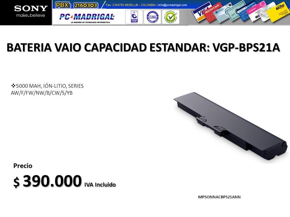 BATERIA VAIO CAPACIDAD ESTANDAR: VGP-BPS21A