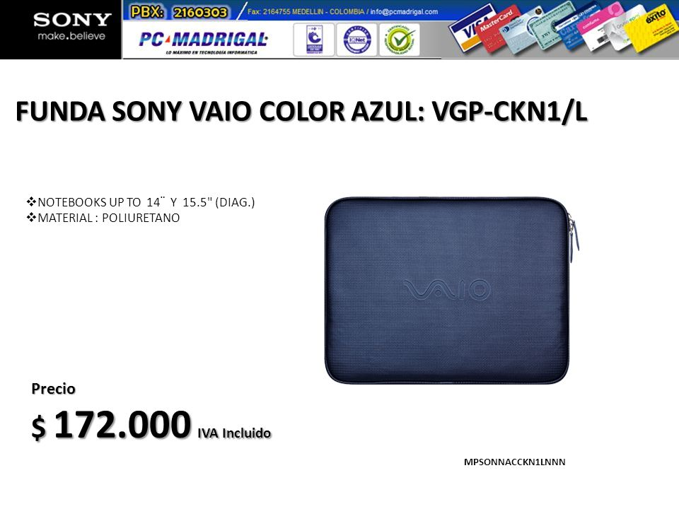 FUNDA SONY VAIO COLOR AZUL: VGP-CKN1/L