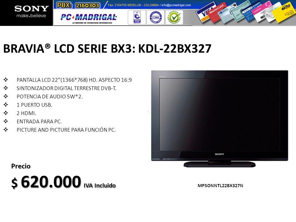 BRAVIA® LCD SERIE BX3: KDL-22BX327