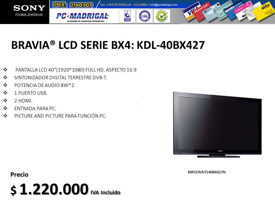 BRAVIA® LCD SERIE BX4: KDL-40BX427