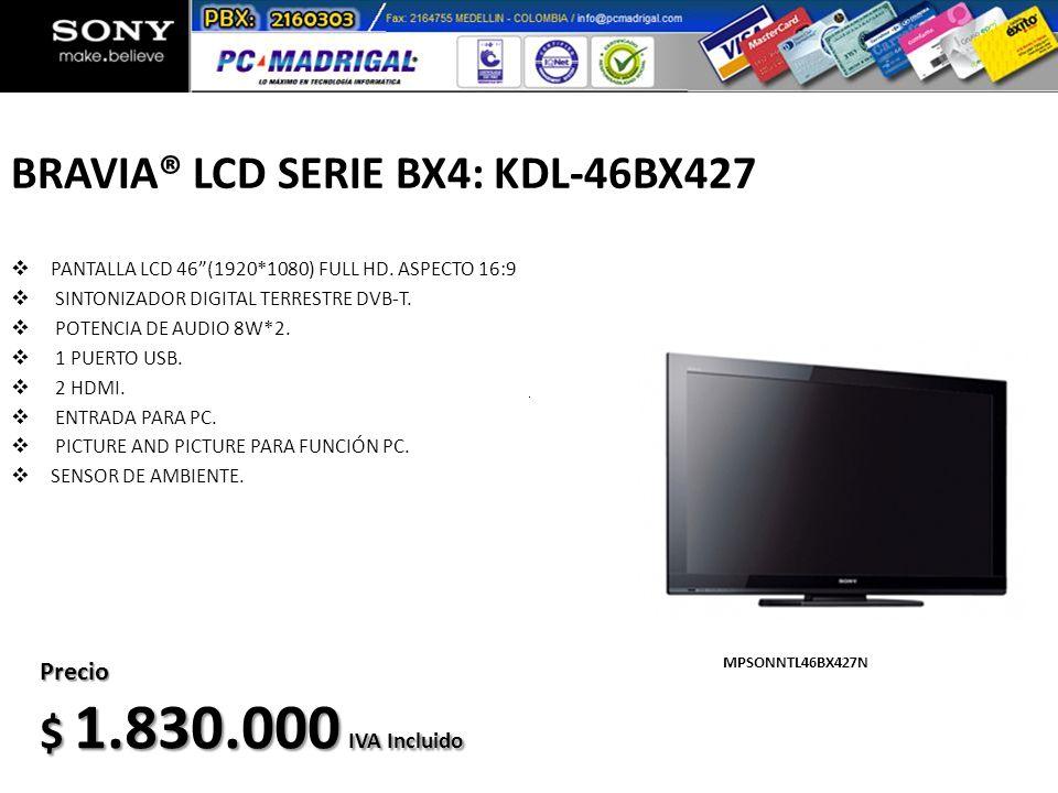 BRAVIA® LCD SERIE BX4: KDL-46BX427