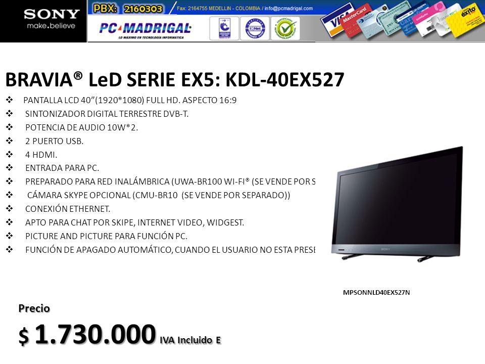 BRAVIA® LeD SERIE EX5: KDL-40EX527