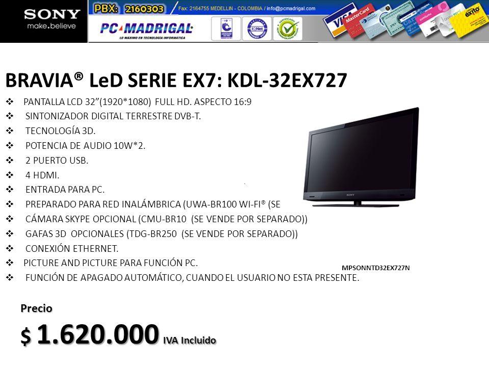 BRAVIA® LeD SERIE EX7: KDL-32EX727