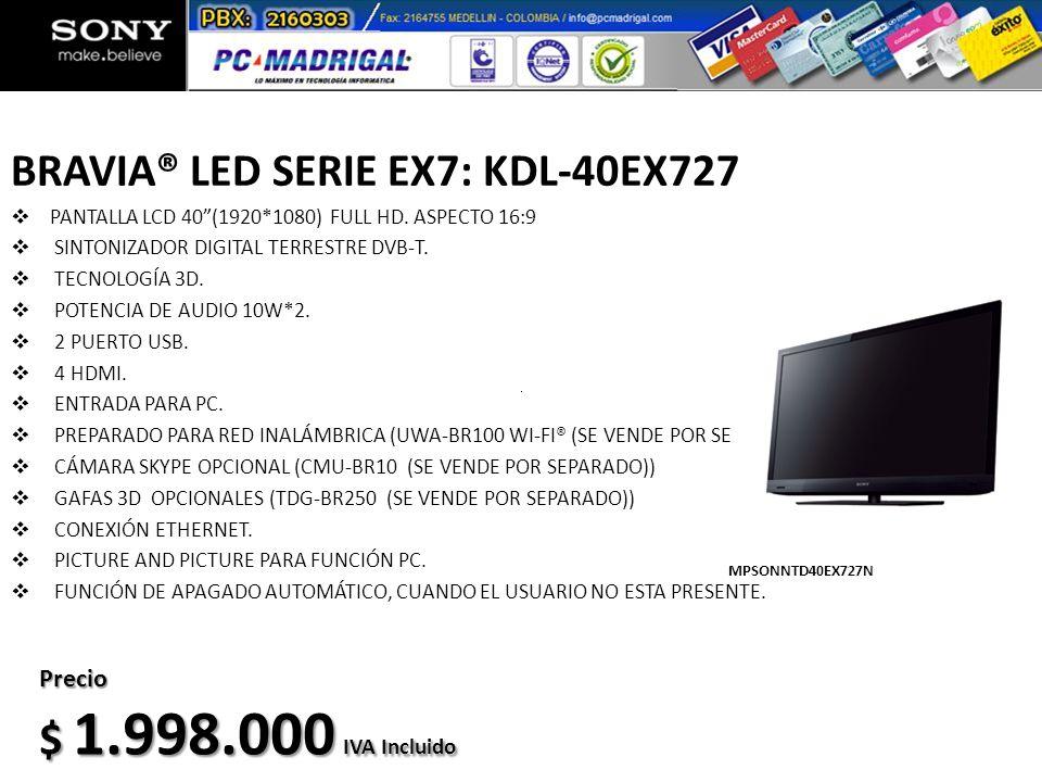 BRAVIA® LED SERIE EX7: KDL-40EX727