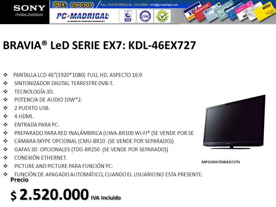 BRAVIA® LeD SERIE EX7: KDL-46EX727
