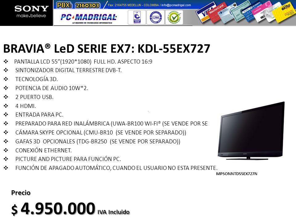 BRAVIA® LeD SERIE EX7: KDL-55EX727