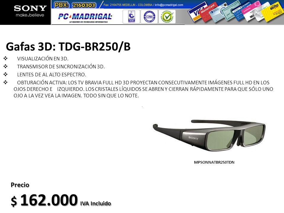 Gafas 3D: TDG-BR250/B $ 162.000 IVA Incluido Precio