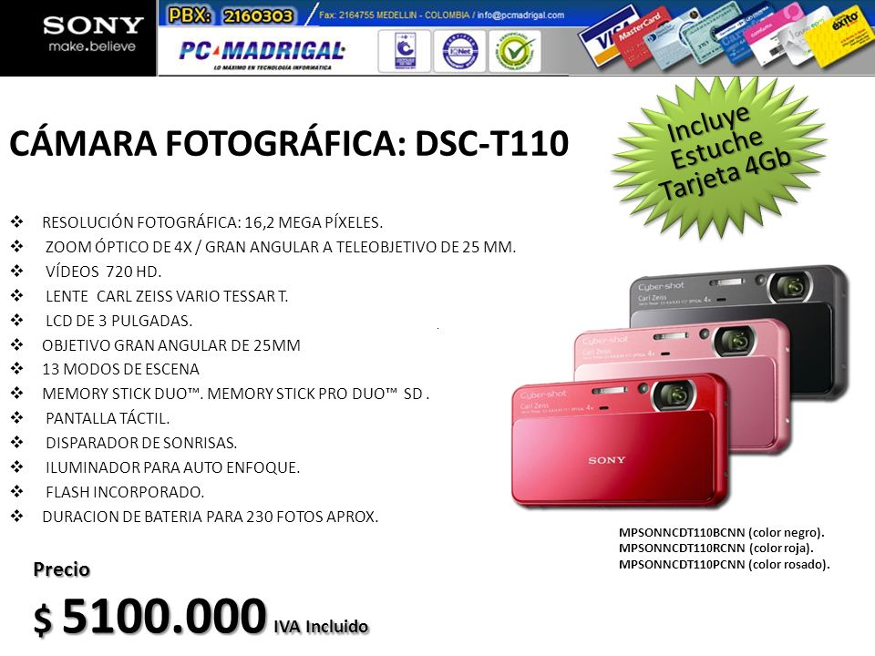 CÁMARA FOTOGRÁFICA: DSC-T110