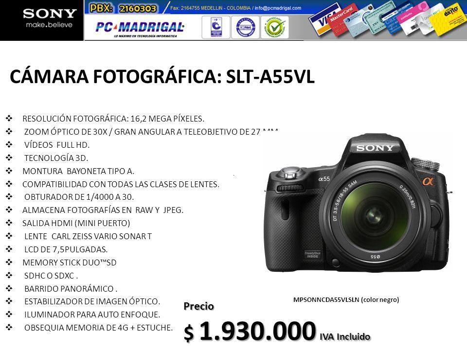 CÁMARA FOTOGRÁFICA: SLT-A55VL