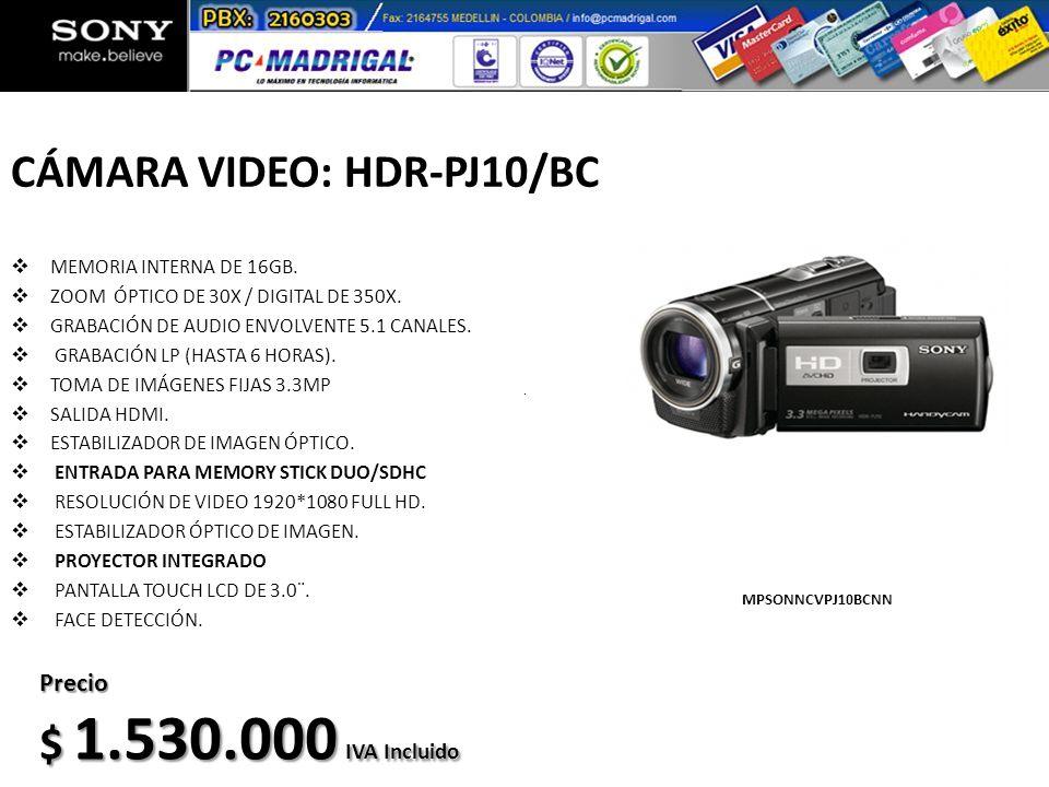 CÁMARA VIDEO: HDR-PJ10/BC
