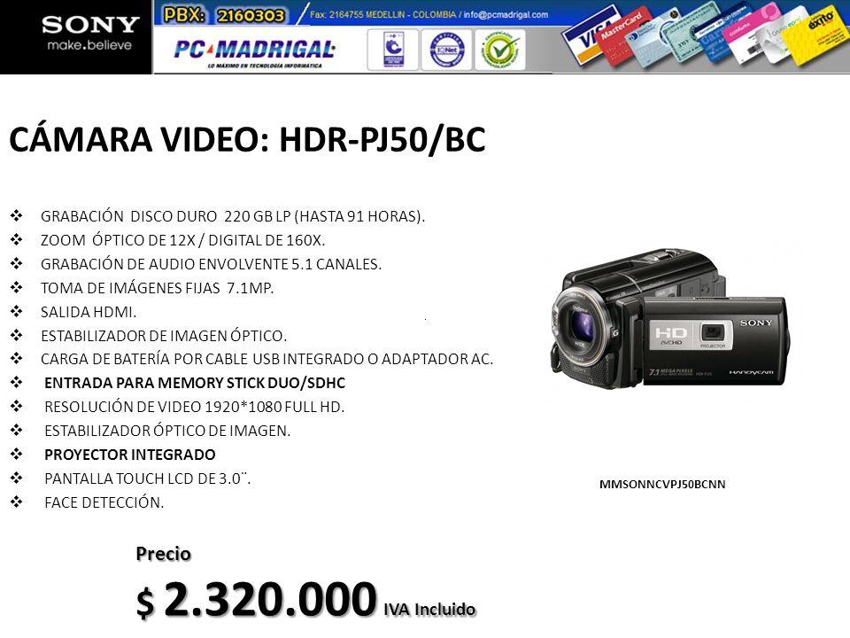 CÁMARA VIDEO: HDR-PJ50/BC