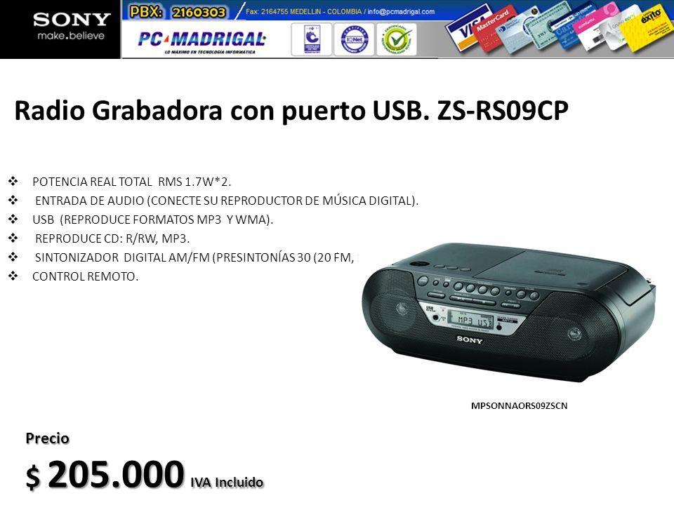Radio Grabadora con puerto USB. ZS-RS09CP