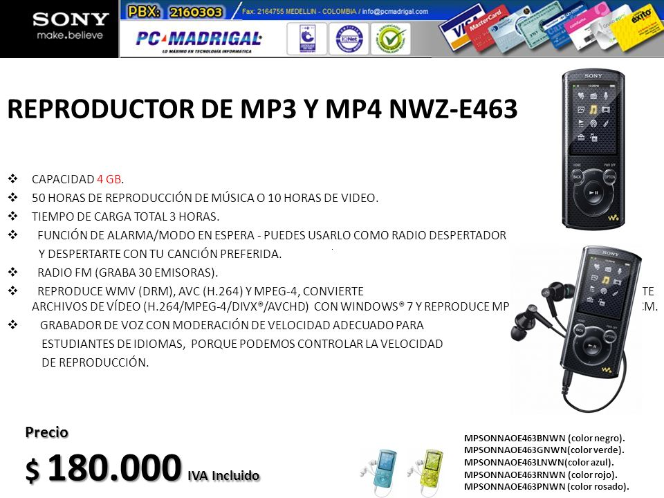REPRODUCTOR DE MP3 Y MP4 NWZ-E463