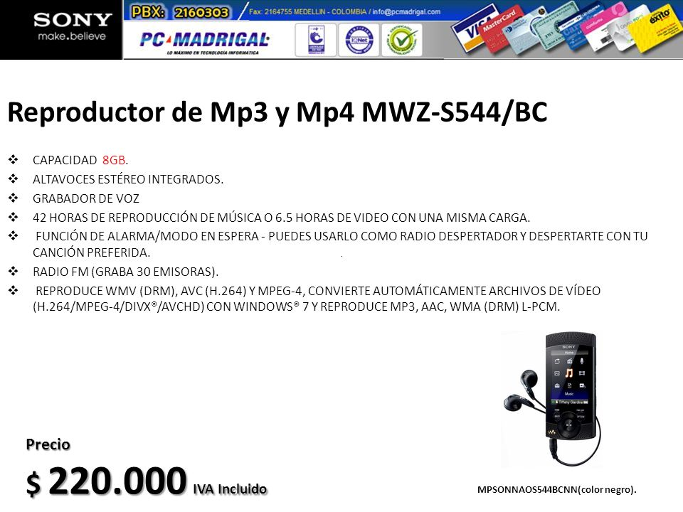 Reproductor de Mp3 y Mp4 MWZ-S544/BC