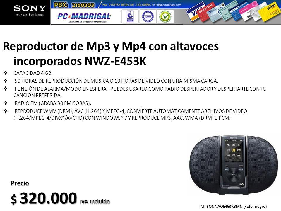 Reproductor de Mp3 y Mp4 con altavoces incorporados NWZ-E453K