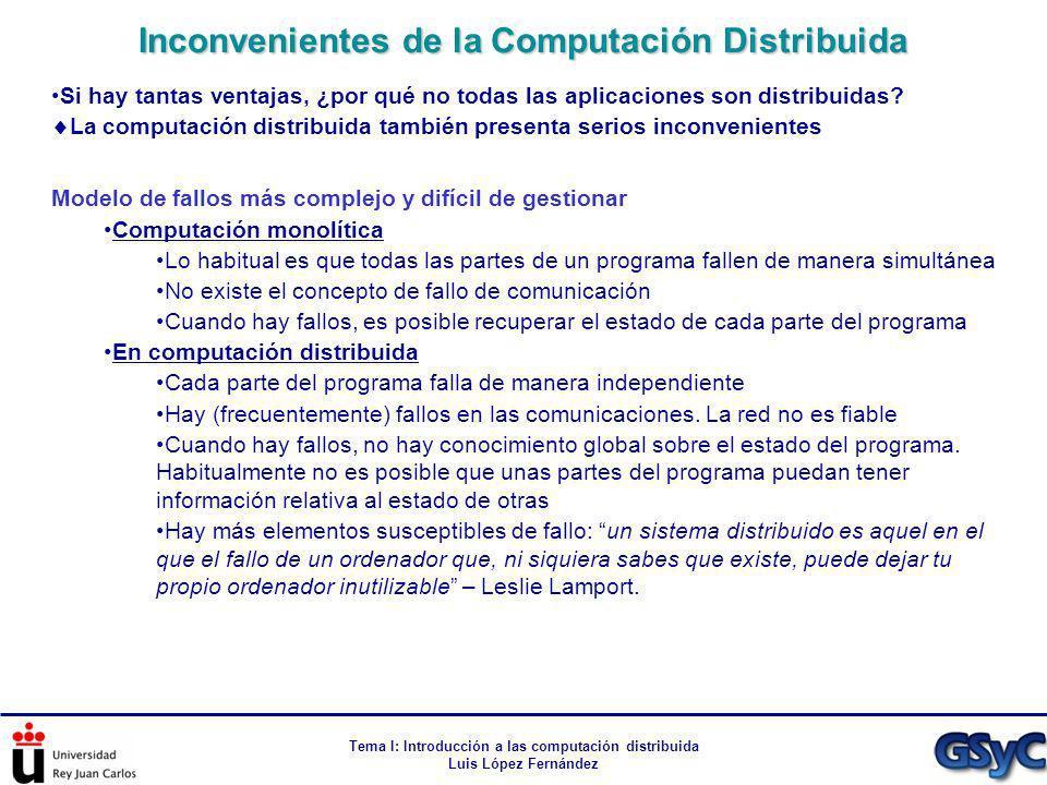Inconvenientes de la Computación Distribuida