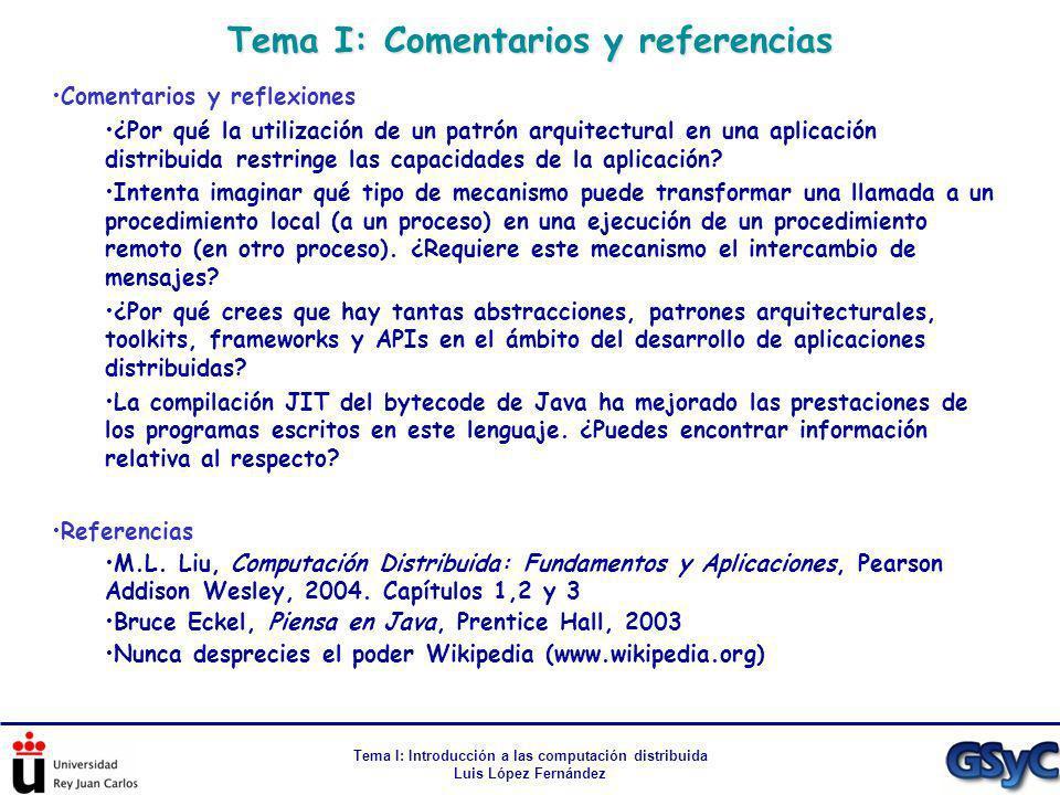Tema I: Comentarios y referencias