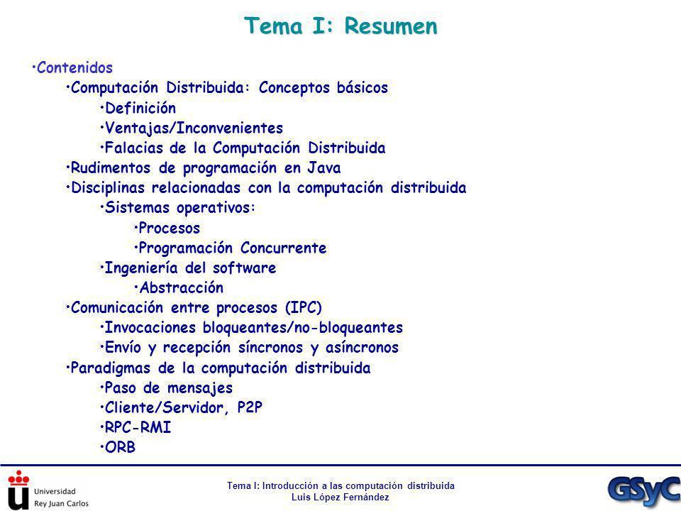 Tema I: Introducción a las computación distribuida