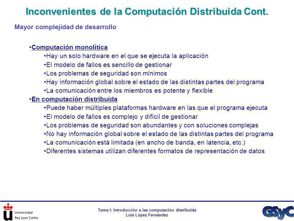 Inconvenientes de la Computación Distribuida Cont.