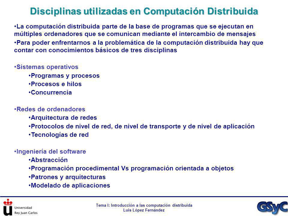 Disciplinas utilizadas en Computación Distribuida