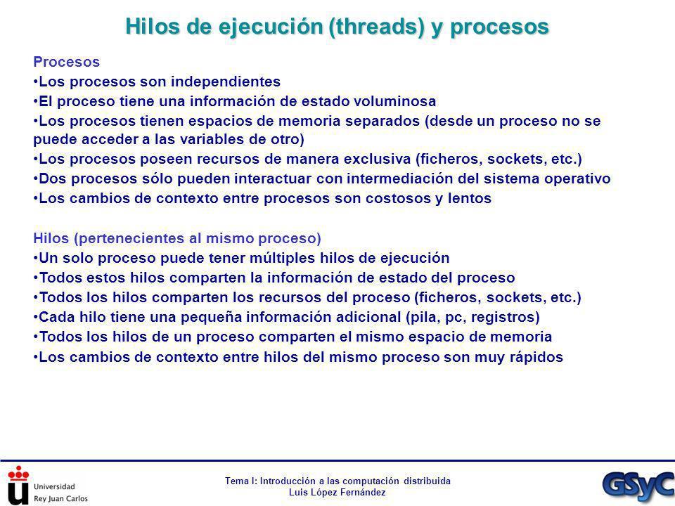 Hilos de ejecución (threads) y procesos