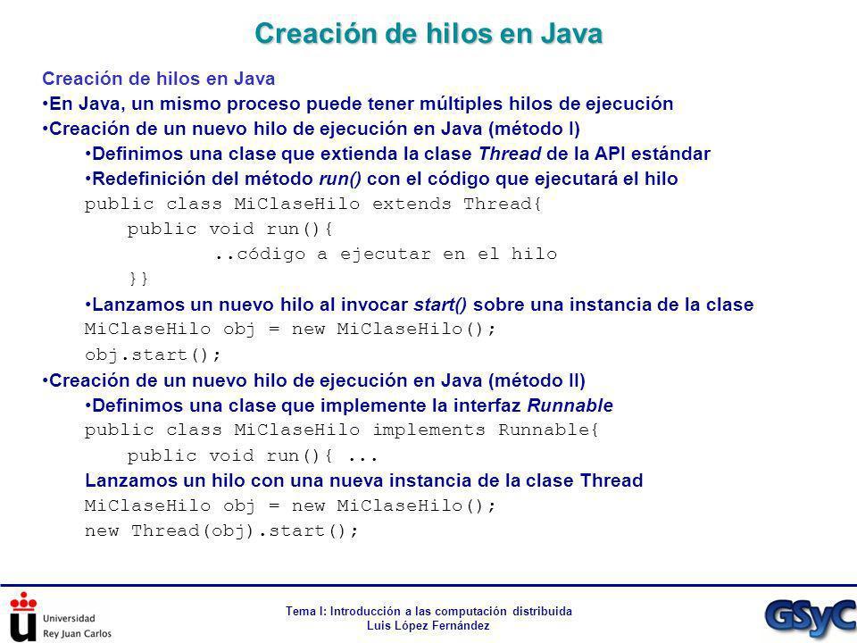 Creación de hilos en Java