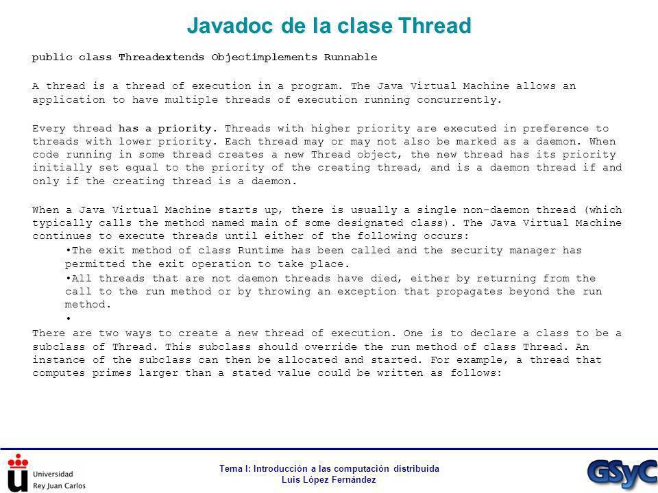Javadoc de la clase Thread