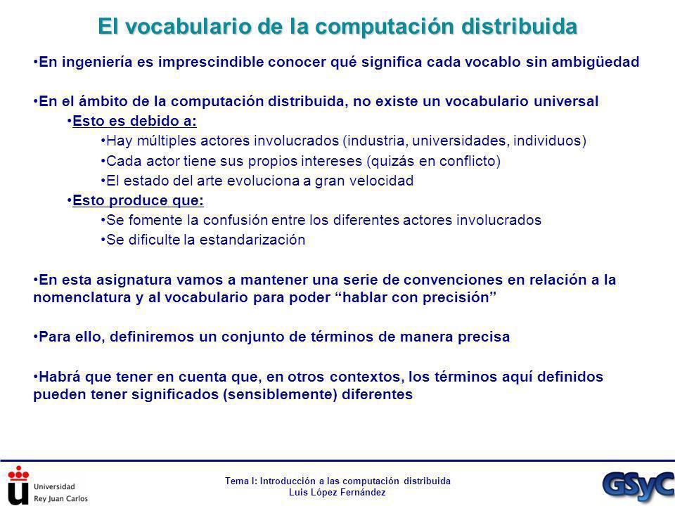 El vocabulario de la computación distribuida